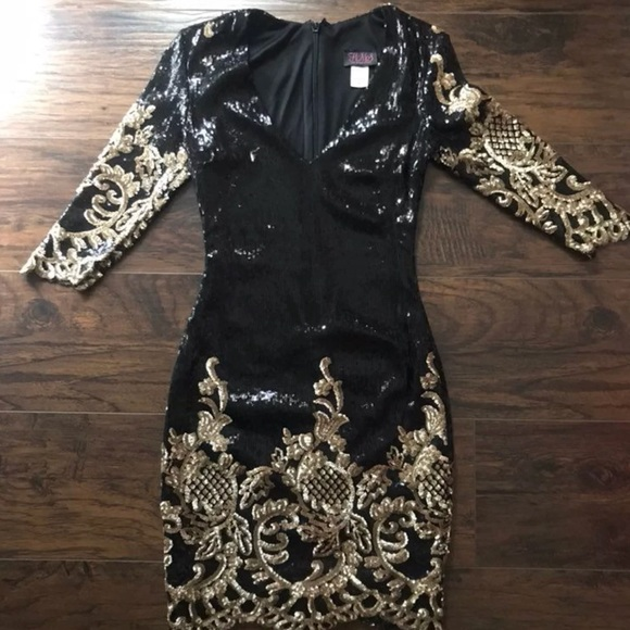 75a1ea62eaa2d Dresses & Skirts - NWOT Black & Gold Victorian Sequin Dress